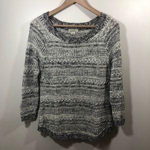Lucky Brand Knit 3/4 Sleeve Black + Cream Sweater